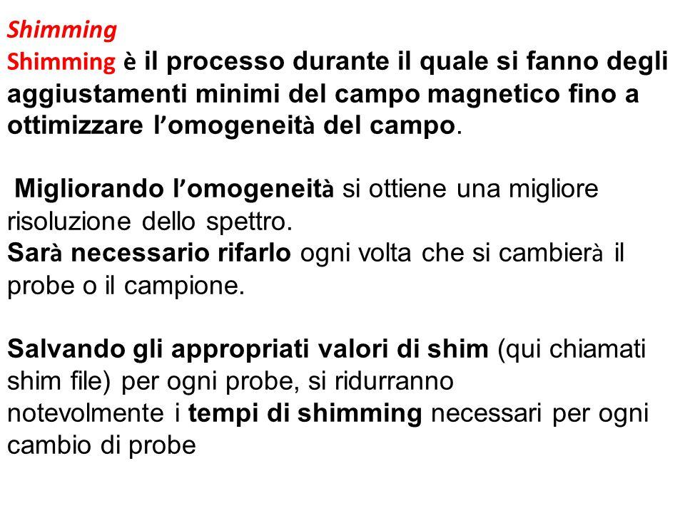 Shimming Shimming è il processo durante il quale si fanno degli aggiustamenti minimi del campo magnetico fino a ottimizzare l ' omogeneit à del campo.