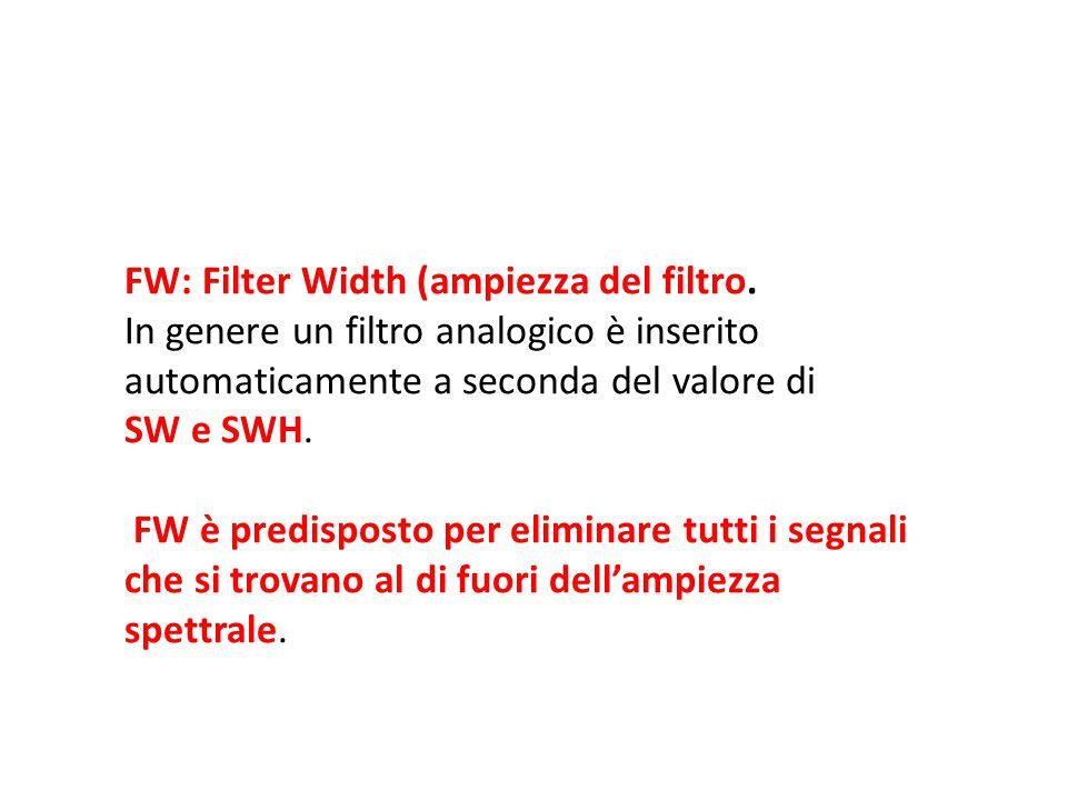 FW: Filter Width (ampiezza del filtro. In genere un filtro analogico è inserito automaticamente a seconda del valore di SW e SWH. FW è predisposto per
