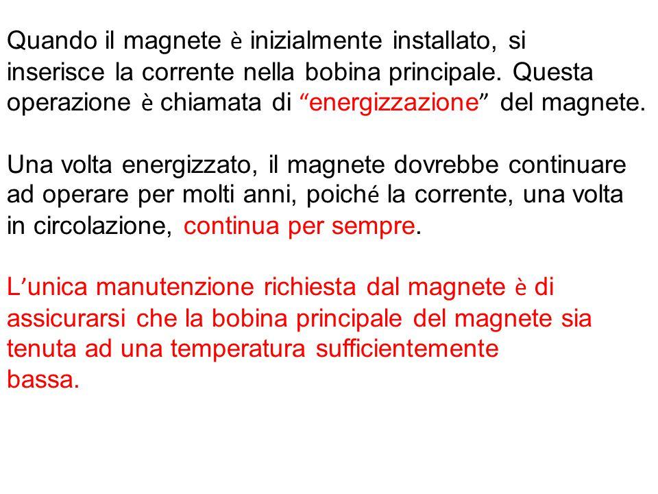 """Quando il magnete è inizialmente installato, si inserisce la corrente nella bobina principale. Questa operazione è chiamata di """" energizzazione """" del"""