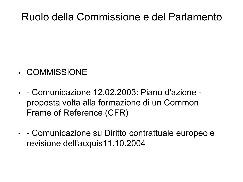Ruolo della Commissione e del Parlamento COMMISSIONE - Comunicazione 12.02.2003: Piano d azione - proposta volta alla formazione di un Common Frame of Reference (CFR) - Comunicazione su Diritto contrattuale europeo e revisione dell acquis11.10.2004