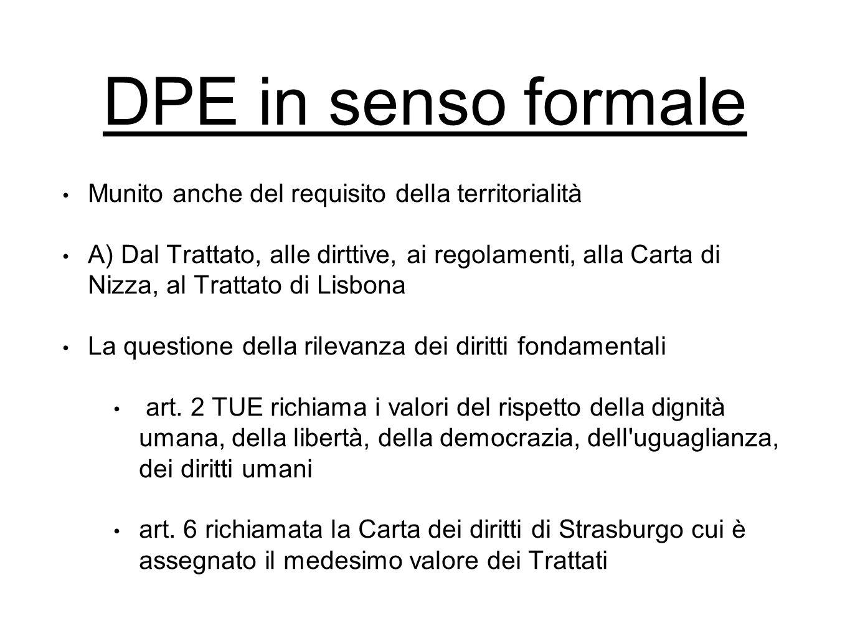 DPE in senso formale Munito anche del requisito della territorialità A) Dal Trattato, alle dirttive, ai regolamenti, alla Carta di Nizza, al Trattato