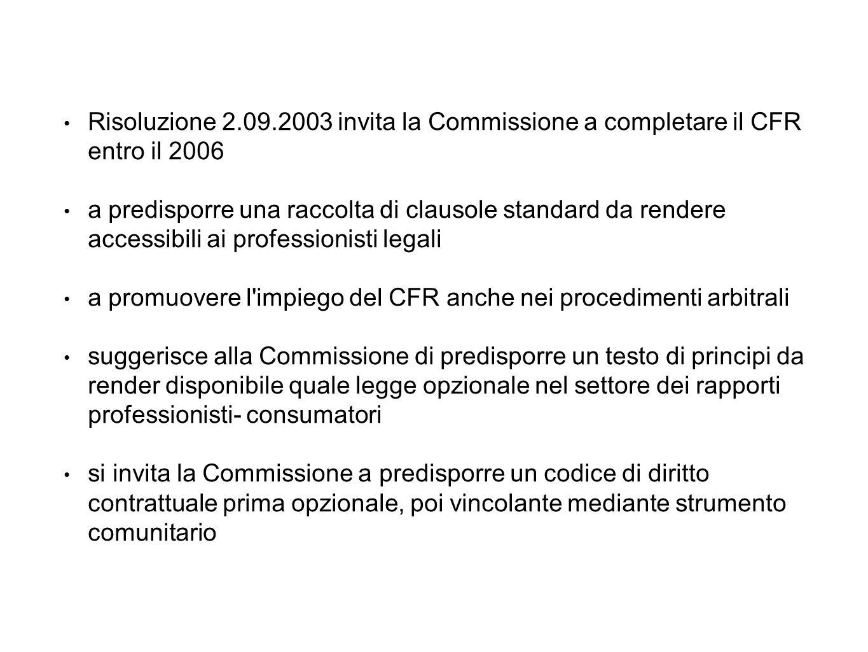 Risoluzione 2.09.2003 invita la Commissione a completare il CFR entro il 2006 a predisporre una raccolta di clausole standard da rendere accessibili ai professionisti legali a promuovere l impiego del CFR anche nei procedimenti arbitrali suggerisce alla Commissione di predisporre un testo di principi da render disponibile quale legge opzionale nel settore dei rapporti professionisti- consumatori si invita la Commissione a predisporre un codice di diritto contrattuale prima opzionale, poi vincolante mediante strumento comunitario