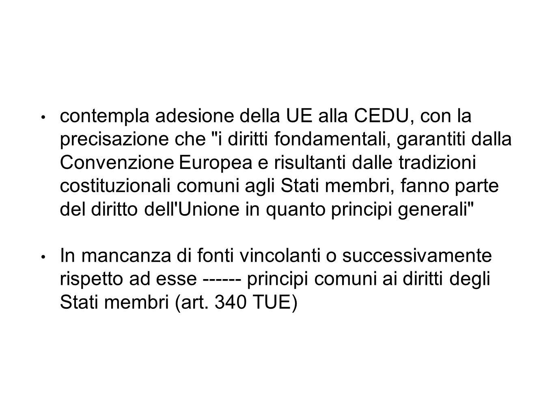 contempla adesione della UE alla CEDU, con la precisazione che