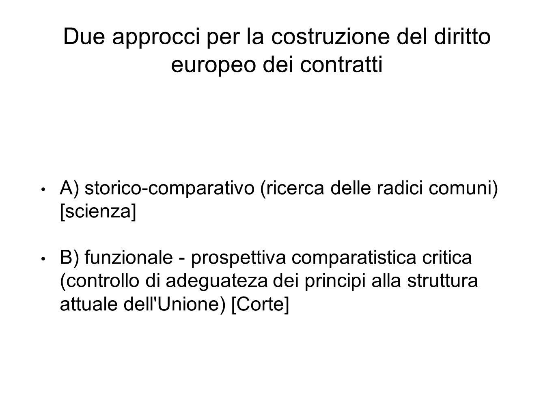 Due approcci per la costruzione del diritto europeo dei contratti A) storico-comparativo (ricerca delle radici comuni) [scienza] B) funzionale - prosp