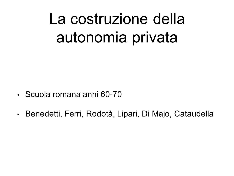 La costruzione della autonomia privata Scuola romana anni 60-70 Benedetti, Ferri, Rodotà, Lipari, Di Majo, Cataudella