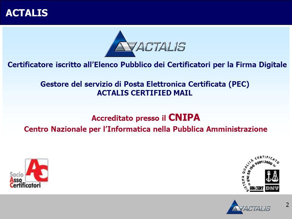 2 Gestore del servizio di Posta Elettronica Certificata (PEC) ACTALIS CERTIFIED MAIL Certificatore iscritto all'Elenco Pubblico dei Certificatori per la Firma Digitale Accreditato presso il CNIPA Centro Nazionale per l'Informatica nella Pubblica Amministrazione ACTALIS