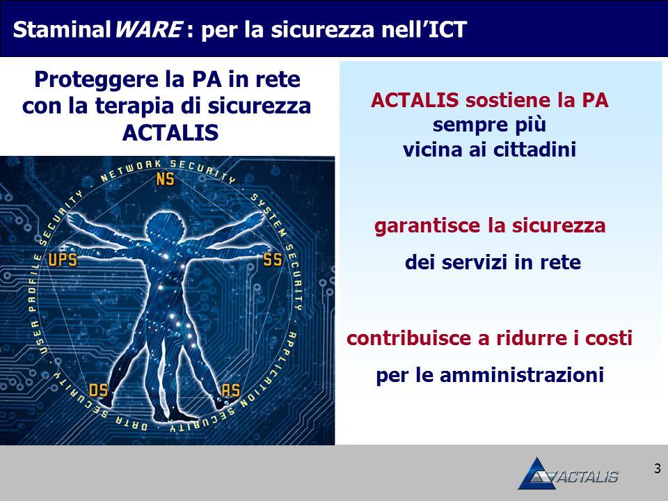 3 StaminalWARE : per la sicurezza nell'ICT ACTALIS sostiene la PA sempre più vicina ai cittadini Proteggere la PA in rete con la terapia di sicurezza ACTALIS garantisce la sicurezza dei servizi in rete contribuisce a ridurre i costi per le amministrazioni