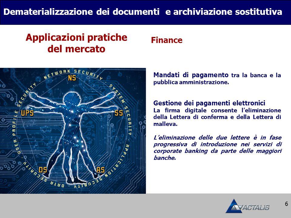 6 Dematerializzazione dei documenti e archiviazione sostitutiva Finance Applicazioni pratiche del mercato Mandati di pagamento tra la banca e la pubblica amministrazione.