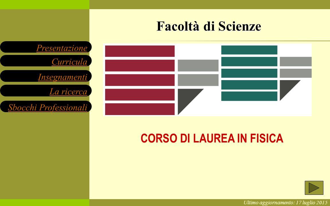 Ultimo aggiornamento: 17 luglio 2015 Facoltà di Scienze CORSO DI LAUREA IN FISICA Insegnamenti Presentazione Sbocchi Professionali La ricerca Curricula