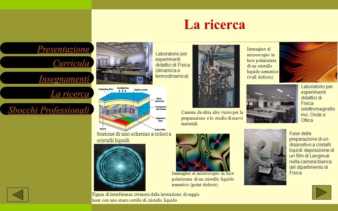 Insegnamenti Presentazione Sbocchi Professionali La ricerca Curricula