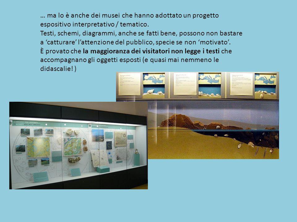 … ma lo è anche dei musei che hanno adottato un progetto espositivo interpretativo / tematico. Testi, schemi, diagrammi, anche se fatti bene, possono