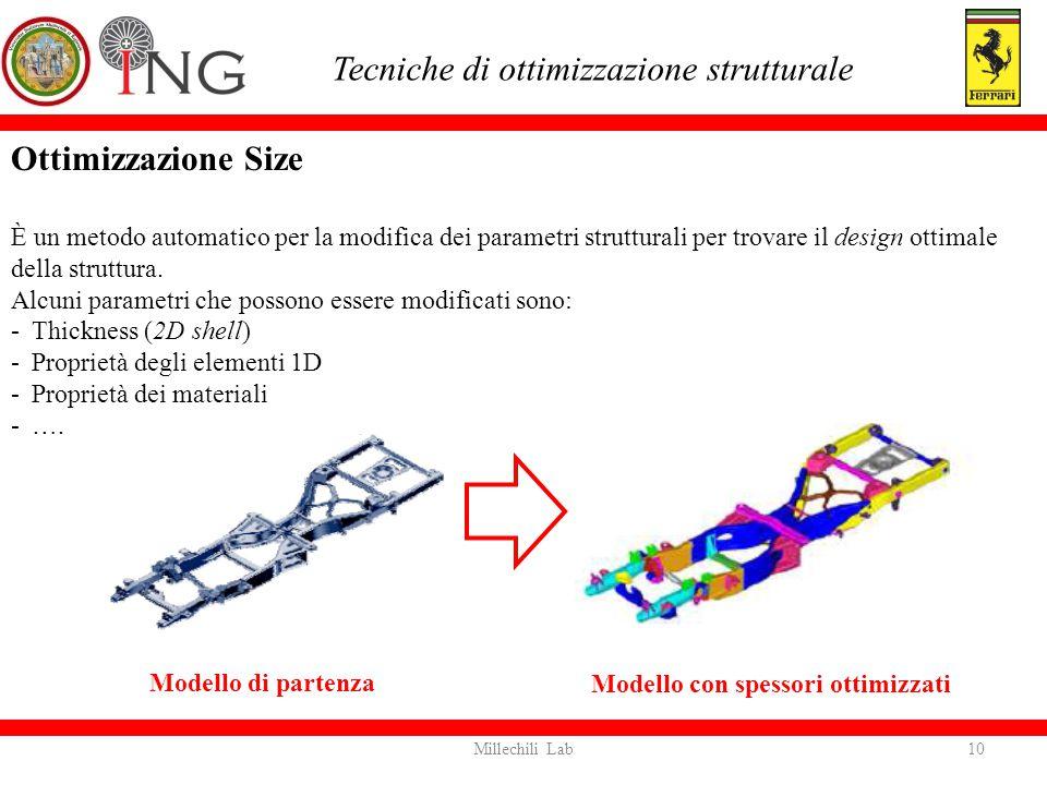 Tecniche di ottimizzazione strutturale Modello di partenza Modello con spessori ottimizzati 10Millechili Lab Ottimizzazione Size È un metodo automatic