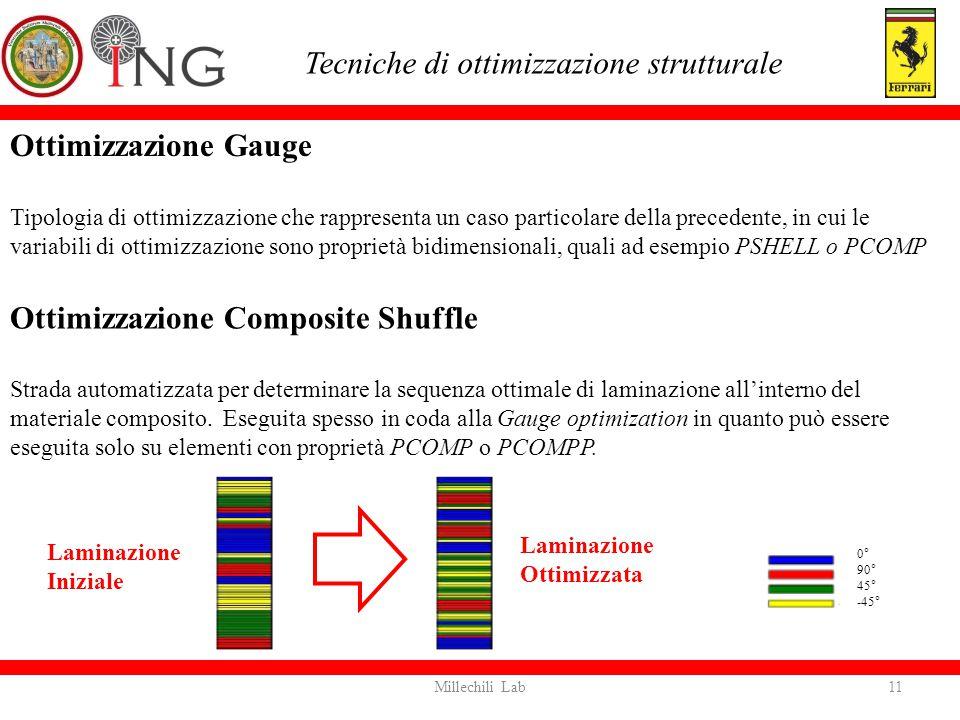 Ottimizzazione Gauge Tipologia di ottimizzazione che rappresenta un caso particolare della precedente, in cui le variabili di ottimizzazione sono prop