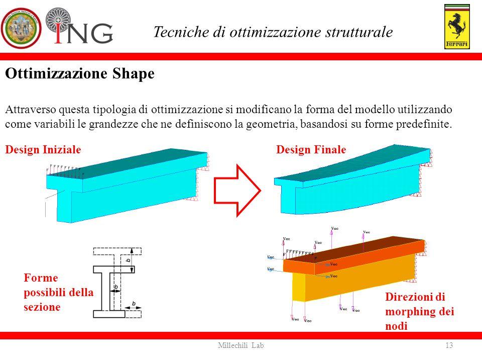 Ottimizzazione Shape Attraverso questa tipologia di ottimizzazione si modificano la forma del modello utilizzando come variabili le grandezze che ne d