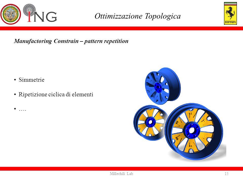 Manufactoring Constrain – pattern repetition Ottimizzazione Topologica Simmetrie Ripetizione ciclica di elementi …. 15Millechili Lab