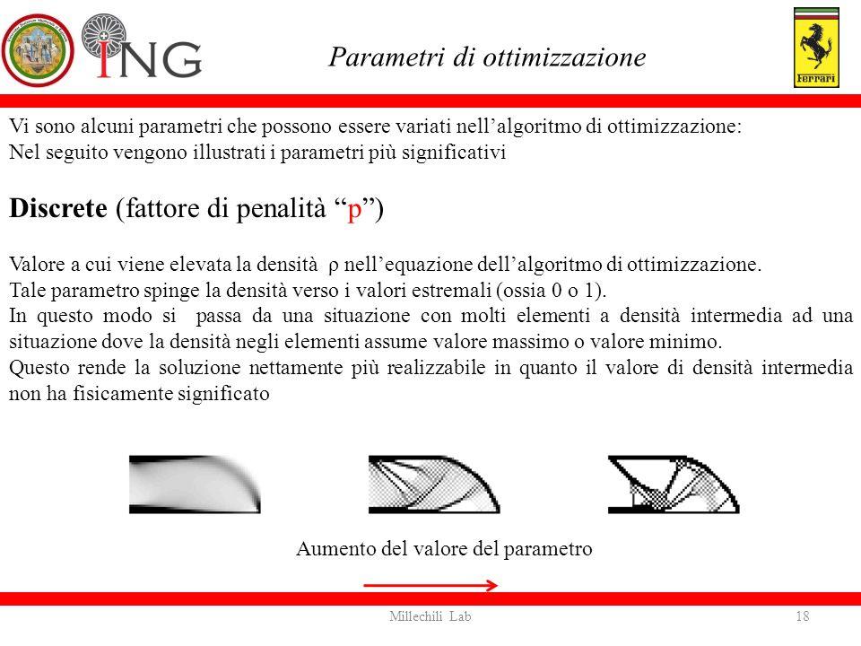 Vi sono alcuni parametri che possono essere variati nell'algoritmo di ottimizzazione: Nel seguito vengono illustrati i parametri più significativi Dis