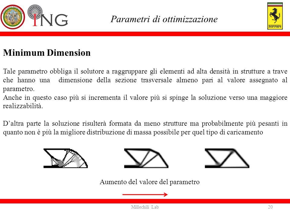 Minimum Dimension Tale parametro obbliga il solutore a raggruppare gli elementi ad alta densità in strutture a trave che hanno una dimensione della se
