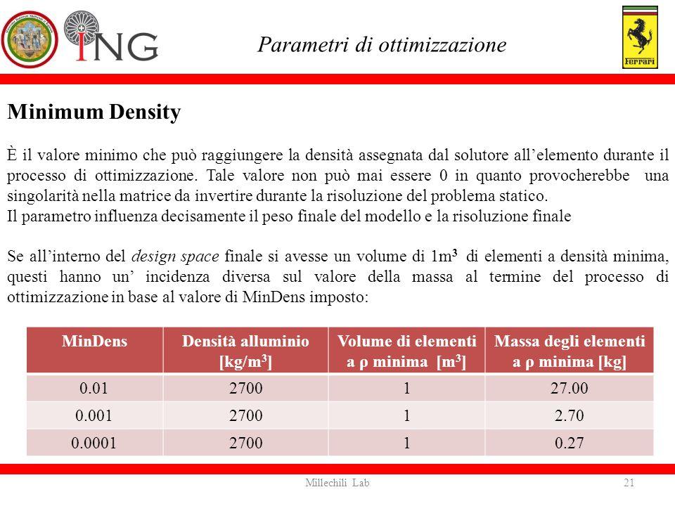 Minimum Density È il valore minimo che può raggiungere la densità assegnata dal solutore all'elemento durante il processo di ottimizzazione. Tale valo