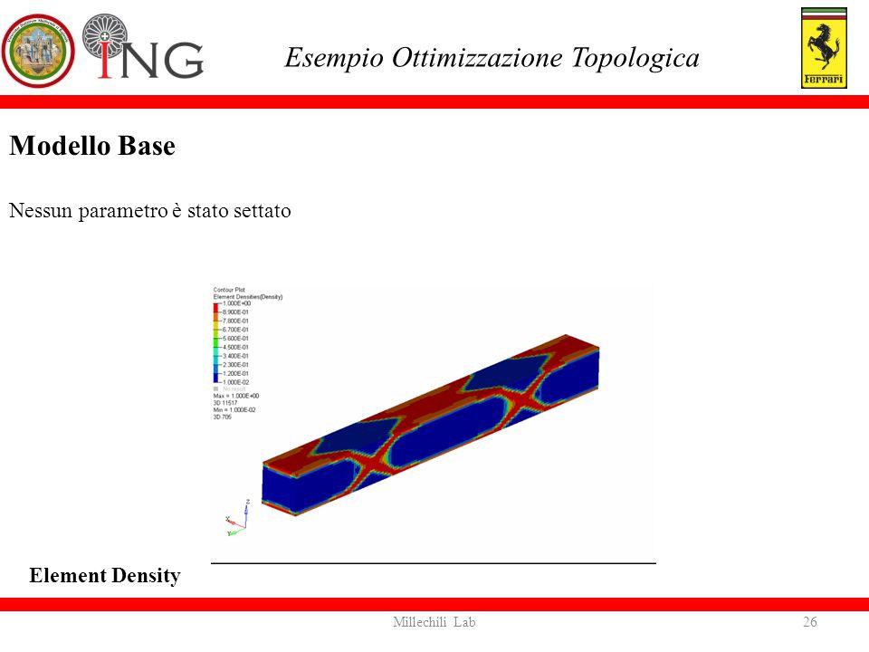 Modello Base Nessun parametro è stato settato Esempio Ottimizzazione Topologica Element Density 26Millechili Lab