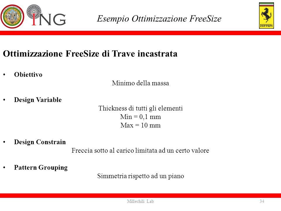 Ottimizzazione FreeSize di Trave incastrata Obiettivo Minimo della massa Design Variable Thickness di tutti gli elementi Min = 0,1 mm Max = 10 mm Desi