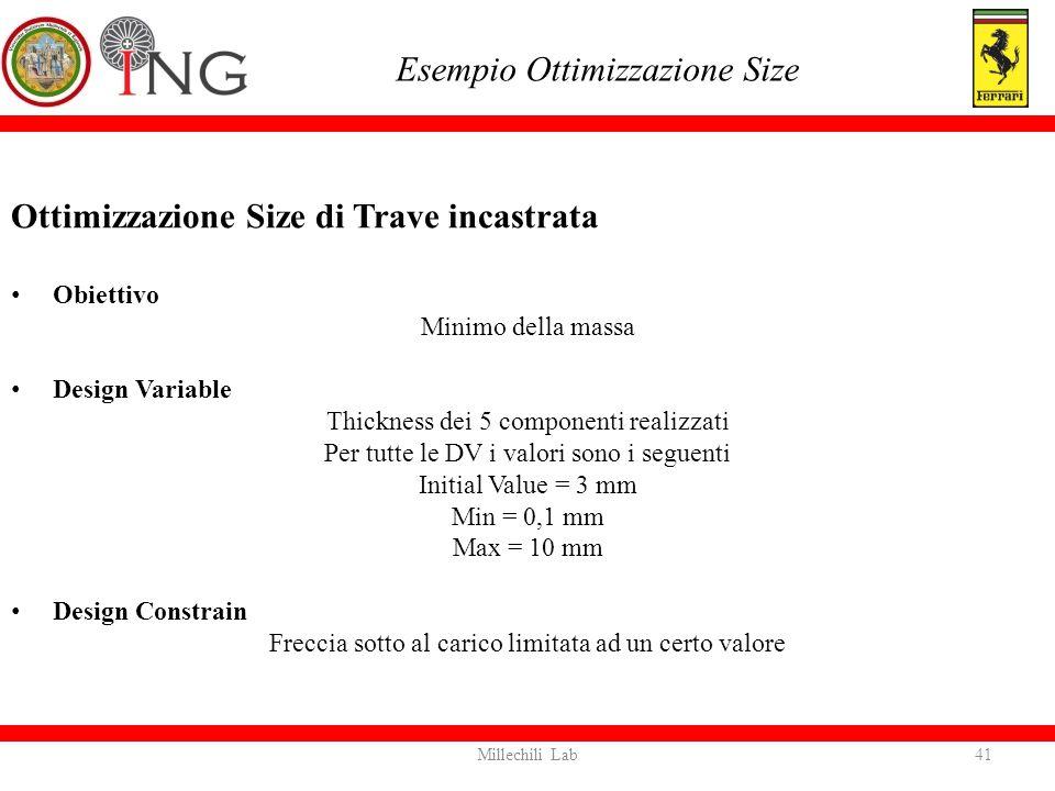 Ottimizzazione Size di Trave incastrata Obiettivo Minimo della massa Design Variable Thickness dei 5 componenti realizzati Per tutte le DV i valori so