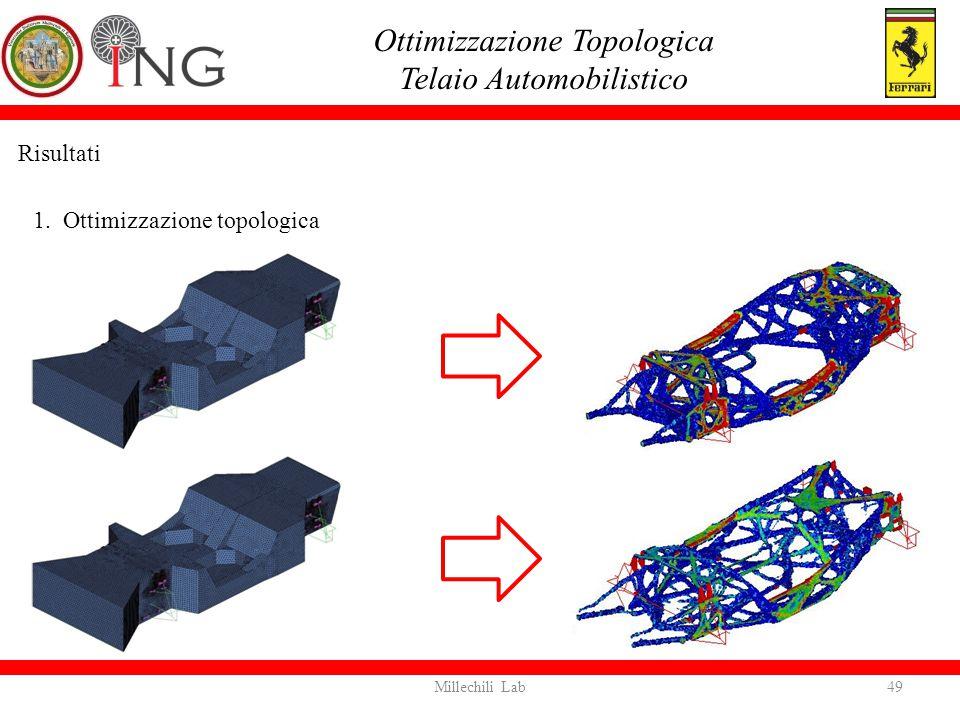 Risultati 1. Ottimizzazione topologica Ottimizzazione Topologica Telaio Automobilistico 49Millechili Lab