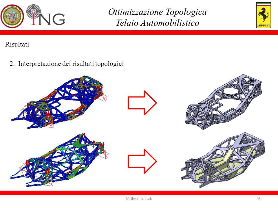 Risultati 2. Interpretazione dei risultati topologici Ottimizzazione Topologica Telaio Automobilistico 50Millechili Lab