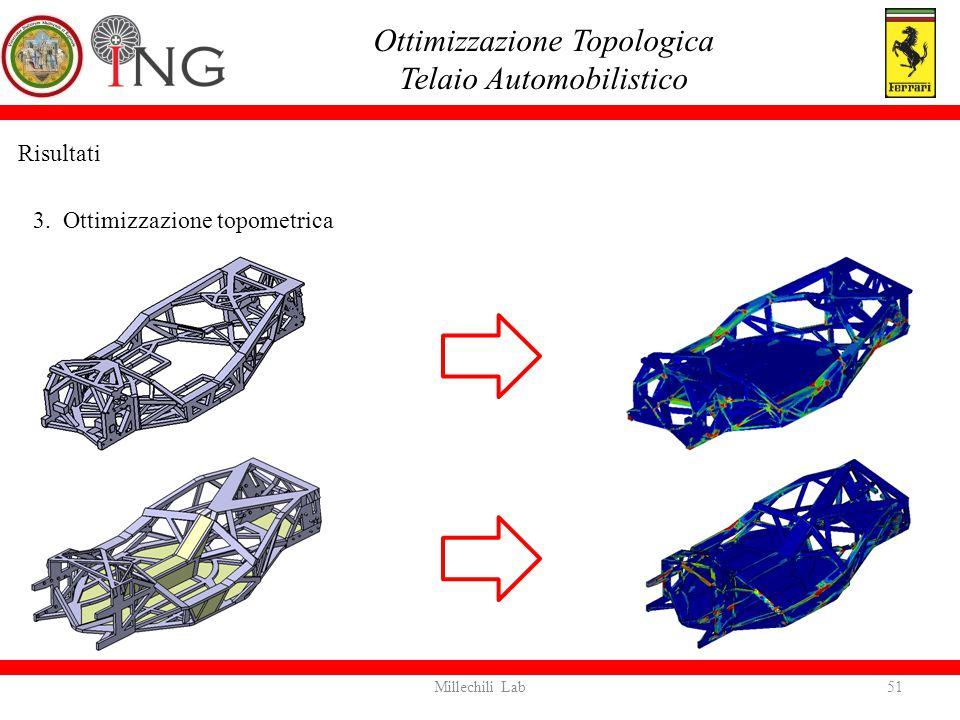 Risultati 3. Ottimizzazione topometrica Ottimizzazione Topologica Telaio Automobilistico 51Millechili Lab
