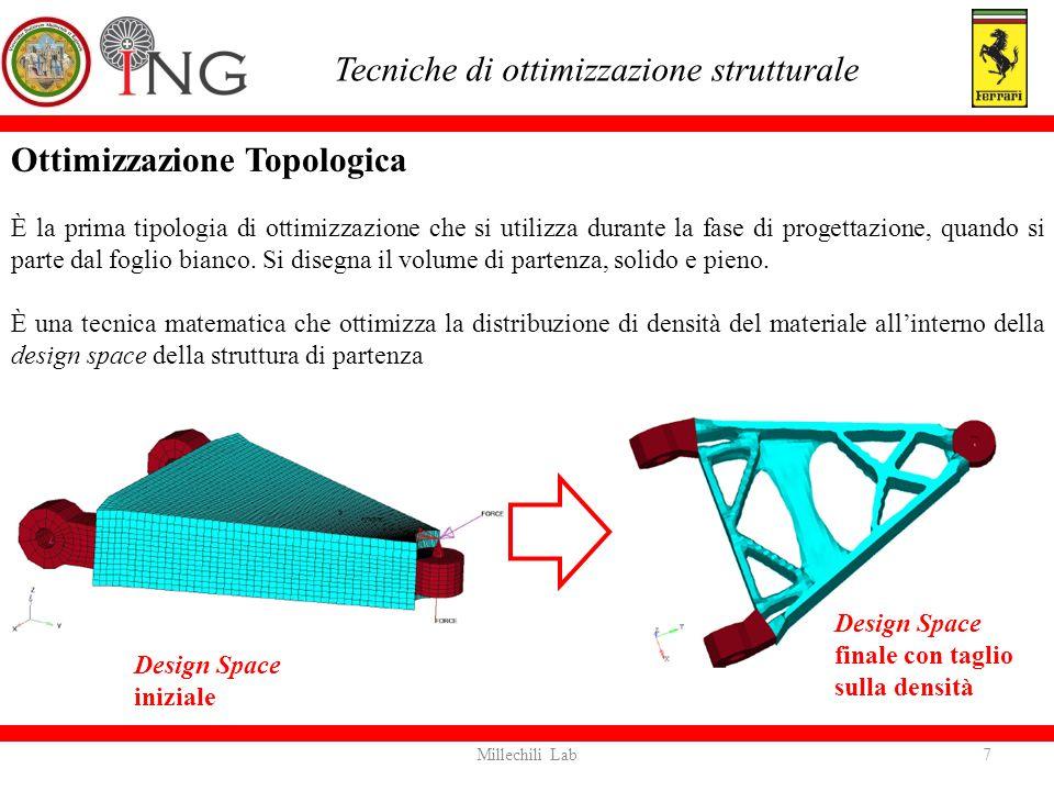Ottimizzazione Topologica È la prima tipologia di ottimizzazione che si utilizza durante la fase di progettazione, quando si parte dal foglio bianco.