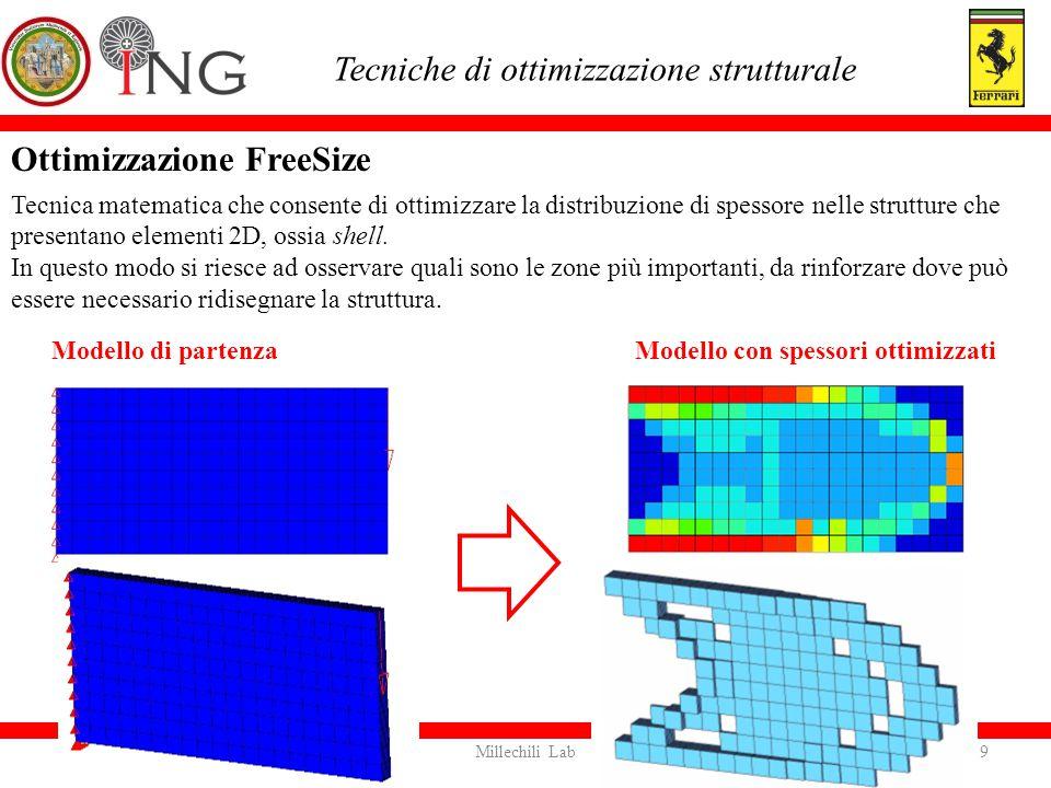 Tecniche di ottimizzazione strutturale Modello di partenza Modello con spessori ottimizzati 10Millechili Lab Ottimizzazione Size È un metodo automatico per la modifica dei parametri strutturali per trovare il design ottimale della struttura.