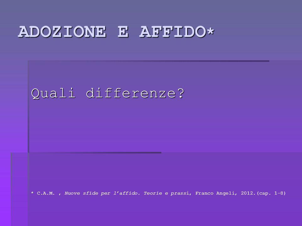 ADOZIONE E AFFIDO * Quali differenze.* * C.A.M., Nuove sfide per l'affido.