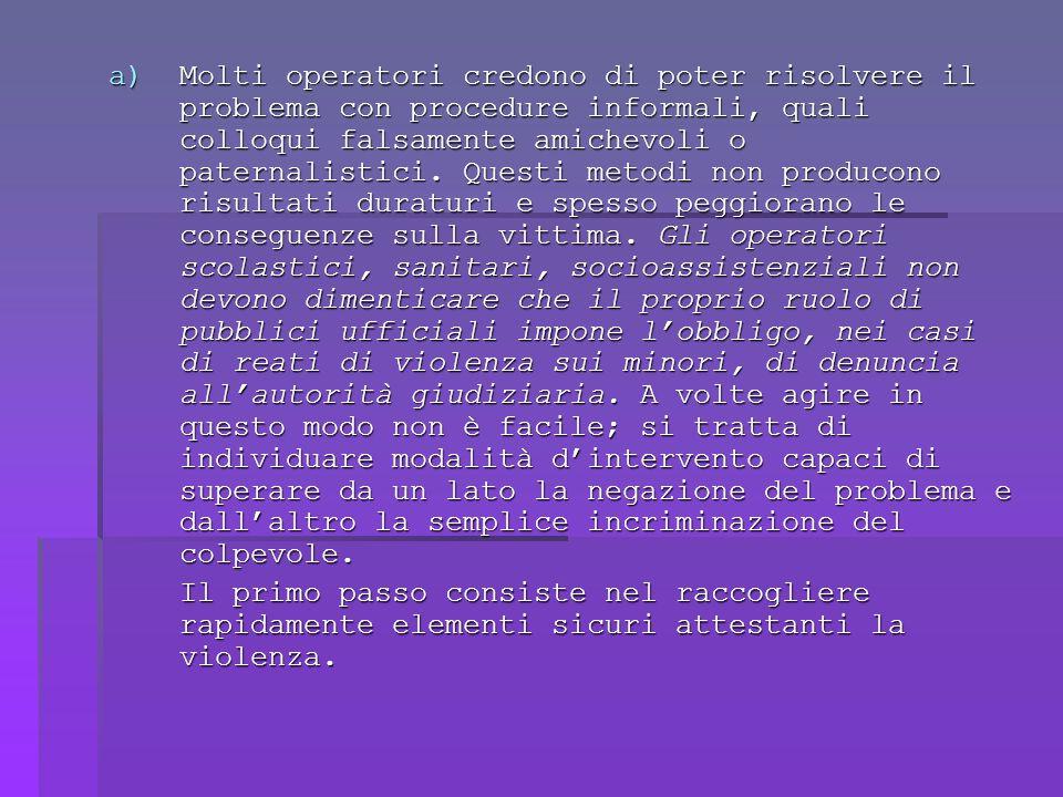 a)Molti operatori credono di poter risolvere il problema con procedure informali, quali colloqui falsamente amichevoli o paternalistici.
