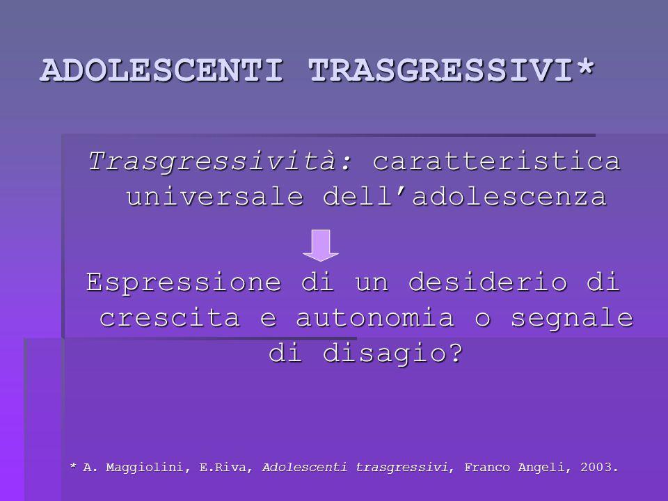 ADOLESCENTI TRASGRESSIVI* Trasgressività: caratteristica universale dell'adolescenza Espressione di un desiderio di crescita e autonomia o segnale di disagio.