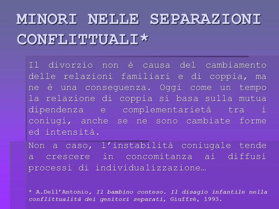 Separazione come crisi Separarsi vuol dire mettere in discussione l'immagine di sé che era stata costituita dal ruolo coniugale.