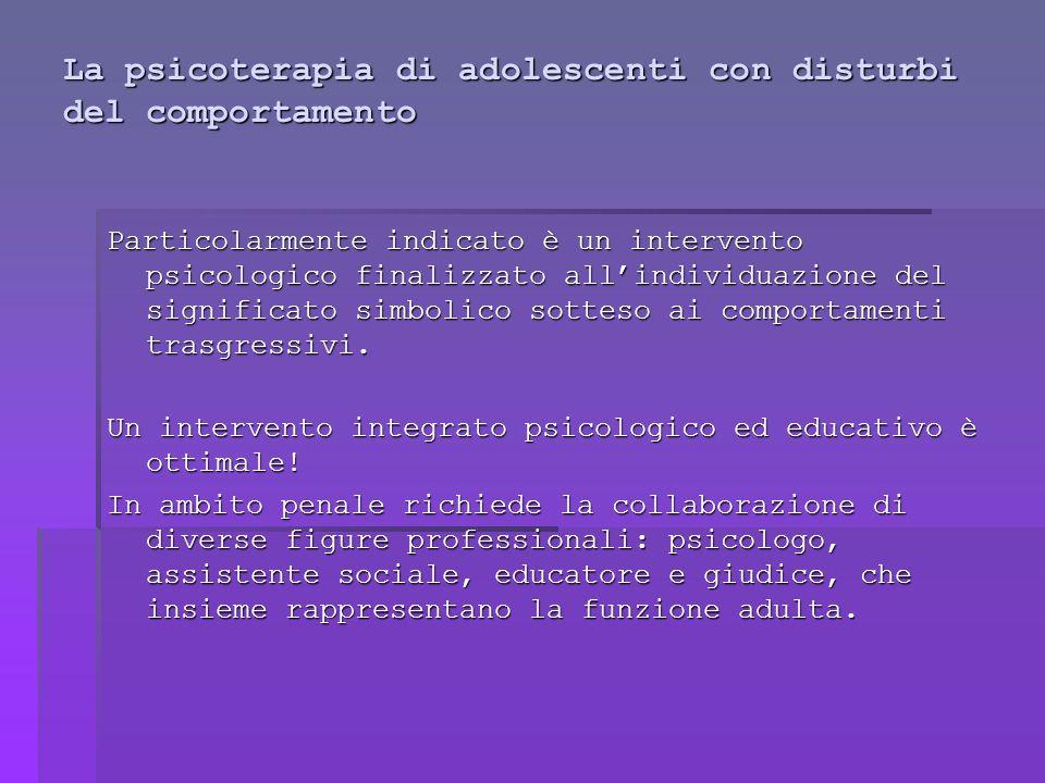 La psicoterapia di adolescenti con disturbi del comportamento Particolarmente indicato è un intervento psicologico finalizzato all'individuazione del significato simbolico sotteso ai comportamenti trasgressivi.