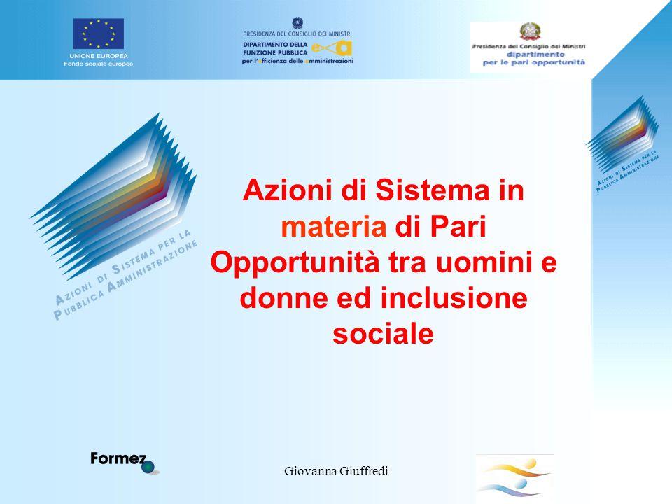 Giovanna Giuffredi Azioni di Sistema in materia di Pari Opportunità tra uomini e donne ed inclusione sociale