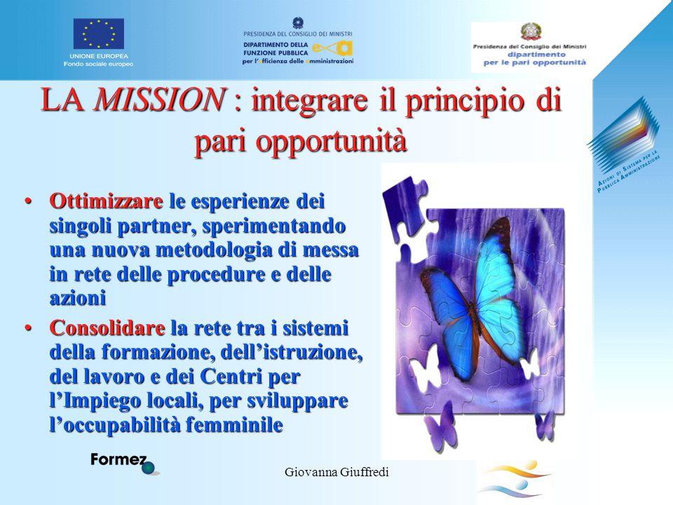 Giovanna Giuffredi LA MISSION : integrare il principio di pari opportunità Ottimizzare le esperienze dei singoli partner, sperimentando una nuova meto