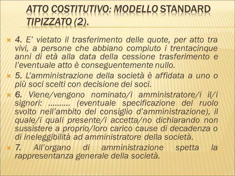  Il modello di statuto standard recita come segue:  L'anno ………., il giorno ………. del mese di ………. in ………., innanzi a me ………. notaio in ………. con sede