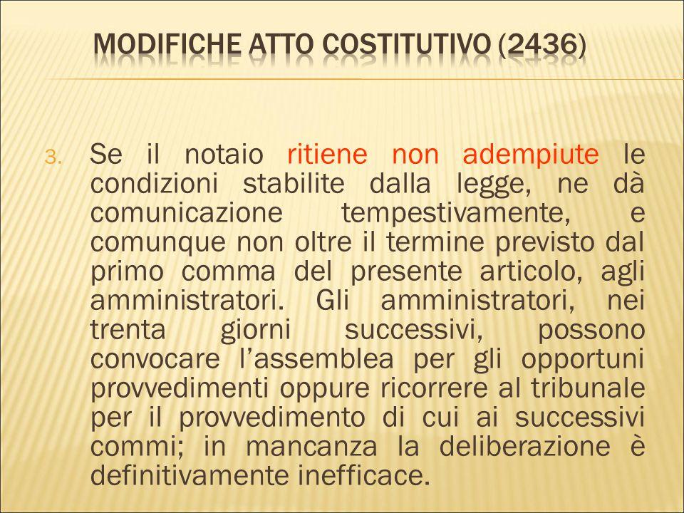 1. «Il notaio che ha verbalizzato la deliberazione di modifica dello statuto, entro trenta giorni, verificato l'adempimento delle condizioni stabilite