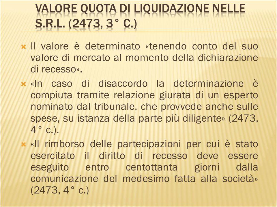  Le modalità di esercizio del recesso sono stabilite dall'atto costitutivo (2473, 1° co.).