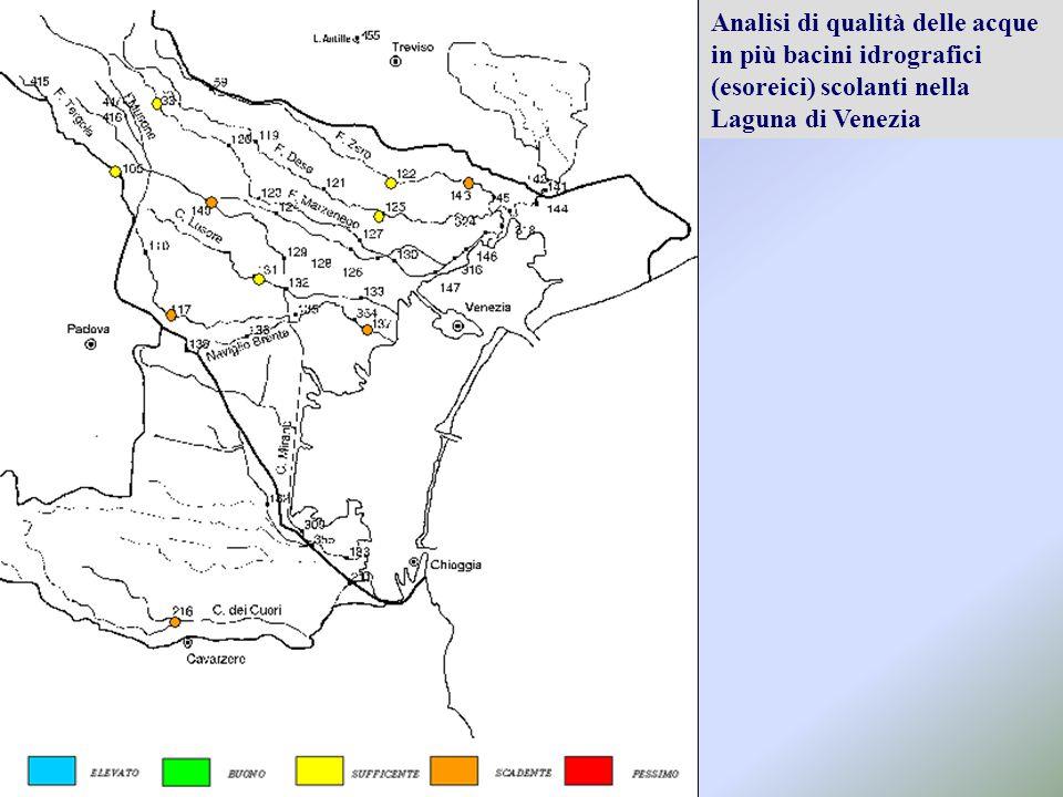 Analisi di qualità delle acque in più bacini idrografici (esoreici) scolanti nella Laguna di Venezia