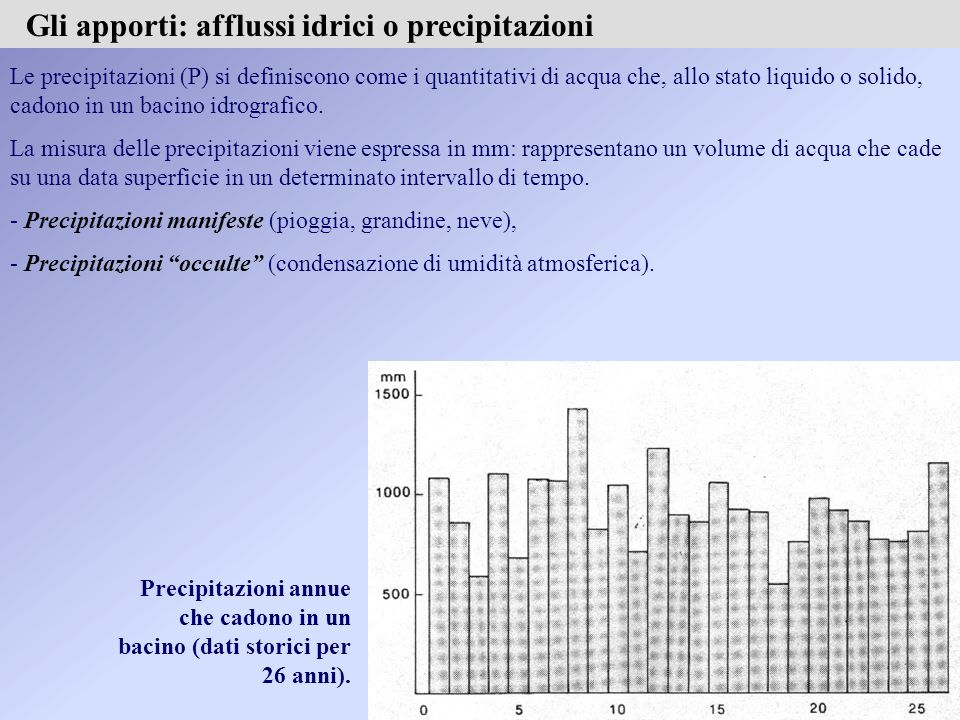 Le precipitazioni (P) si definiscono come i quantitativi di acqua che, allo stato liquido o solido, cadono in un bacino idrografico.
