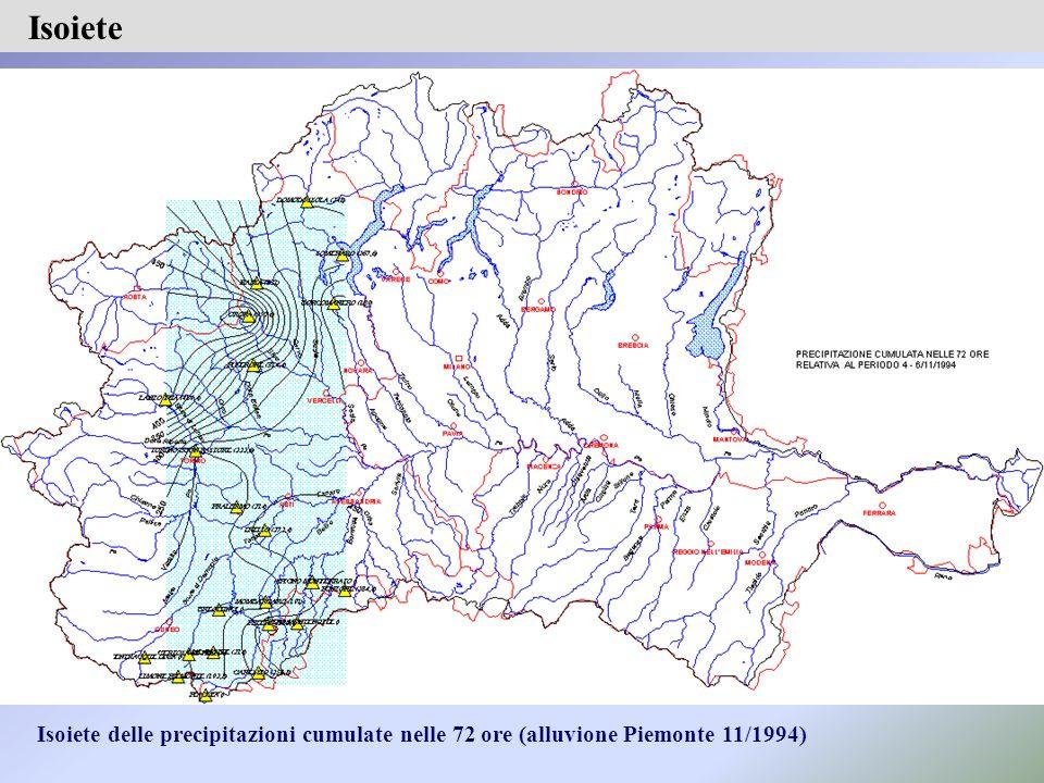 Isoiete delle precipitazioni cumulate nelle 72 ore (alluvione Piemonte 11/1994) Isoiete