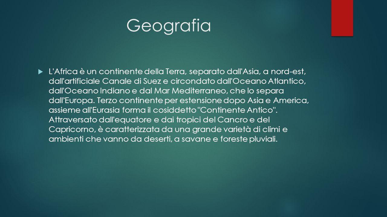 Geografia  L'Africa è un continente della Terra, separato dall'Asia, a nord-est, dall'artificiale Canale di Suez e circondato dall'Oceano Atlantico,
