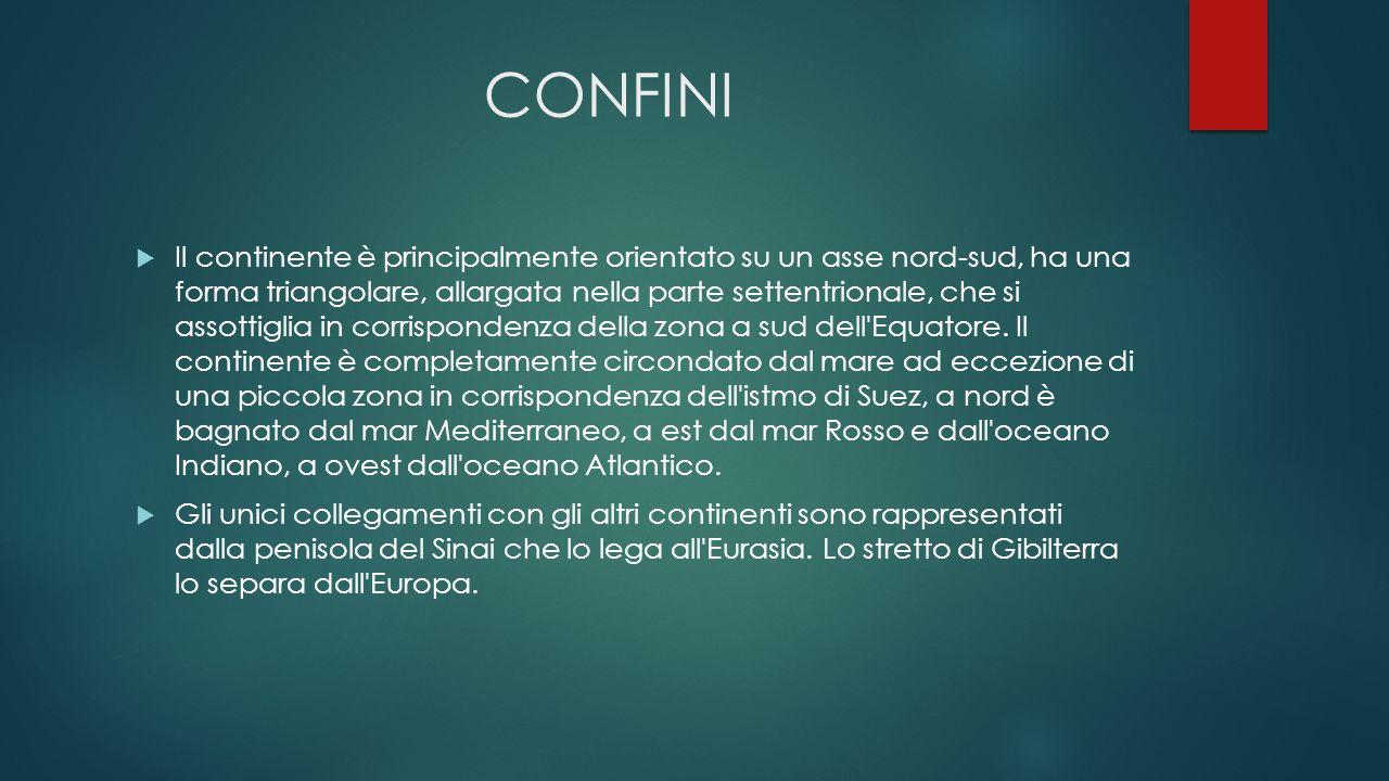 CONFINI  Il continente è principalmente orientato su un asse nord-sud, ha una forma triangolare, allargata nella parte settentrionale, che si assotti