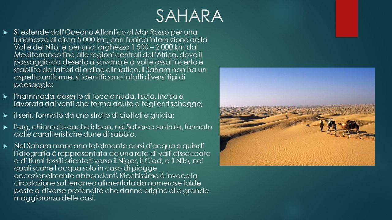 SAHARA  Si estende dall'Oceano Atlantico al Mar Rosso per una lunghezza di circa 5 000 km, con l'unica interruzione della Valle del Nilo, e per una l