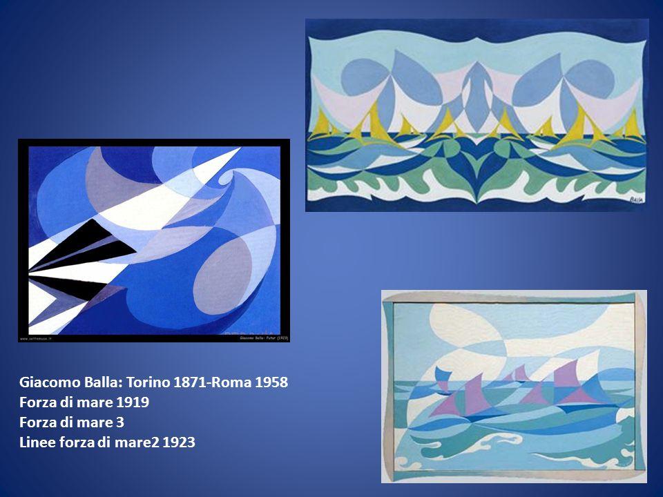 Giacomo Balla: Torino 1871-Roma 1958 Forza di mare 1919 Forza di mare 3 Linee forza di mare2 1923