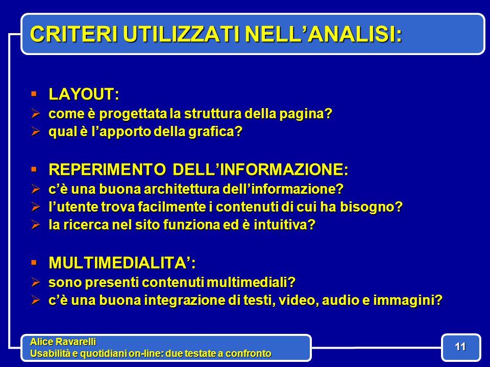 Alice Ravarelli Usabilità e quotidiani on-line: due testate a confronto 11 CRITERI UTILIZZATI NELL'ANALISI:  LAYOUT:  come è progettata la struttura della pagina.