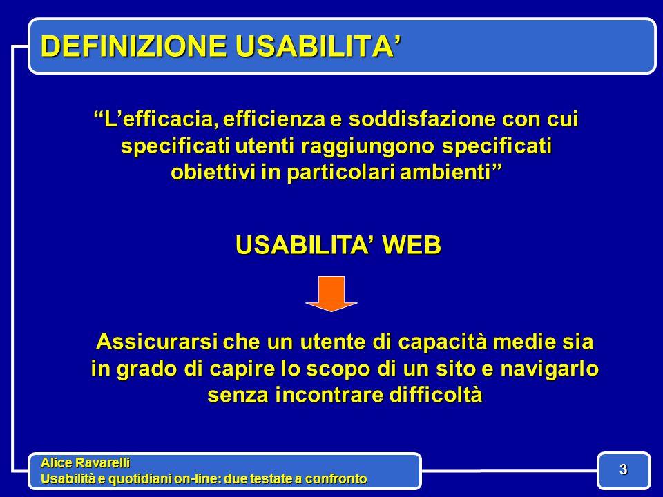 Alice Ravarelli Usabilità e quotidiani on-line: due testate a confronto 14 COMPRENSIBILITA' barra di navigazione notizie banner