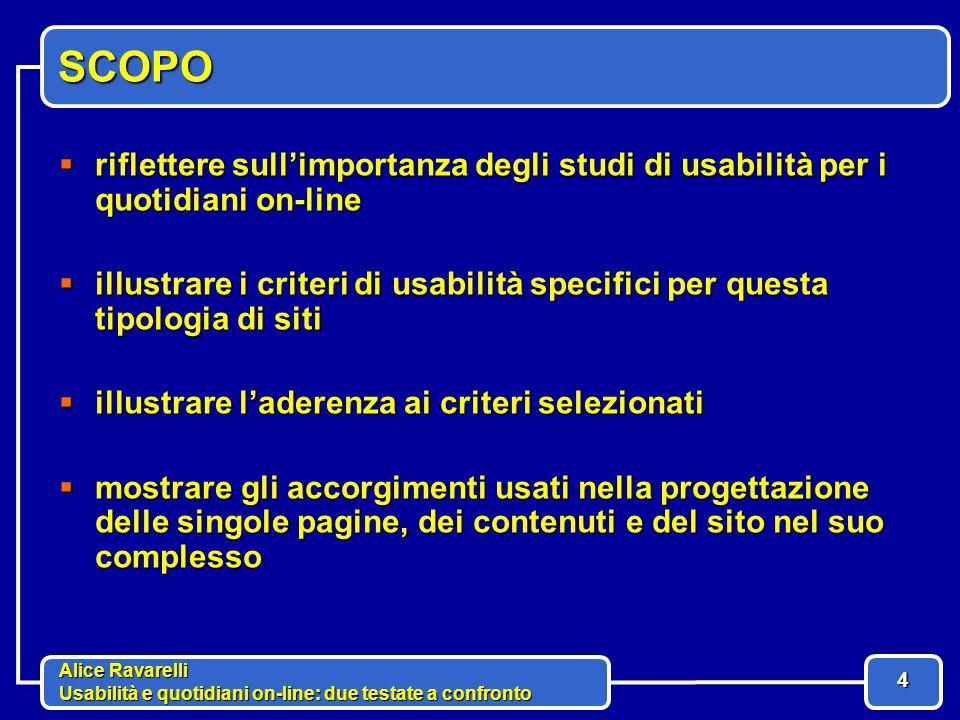 Alice Ravarelli Usabilità e quotidiani on-line: due testate a confronto 5 CARATTERISTICHE QUOTIDIANI ON-LINE MULTIMEDIALITA' contributi video, audio, grafici o fotografici